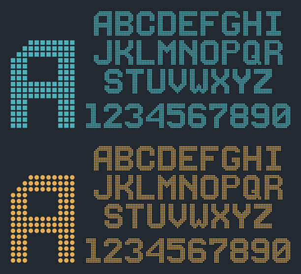 retro-pixel-font, abgerundete alphabet und zahlen - led stock-grafiken, -clipart, -cartoons und -symbole