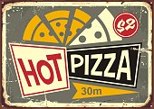 Retro pizzeria sign with hot pizza and old fashion style typography. Restaurant poster design for Italian cuisine. Food graphic.