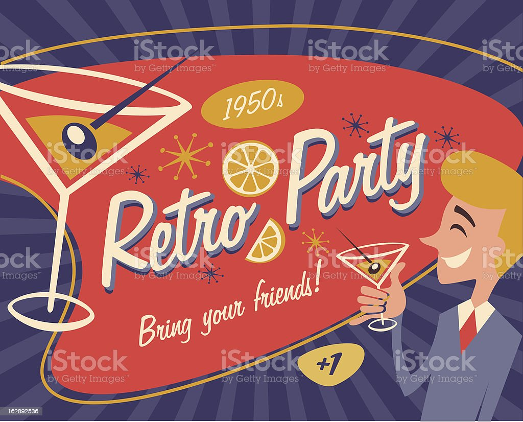 Retro placard vector art illustration
