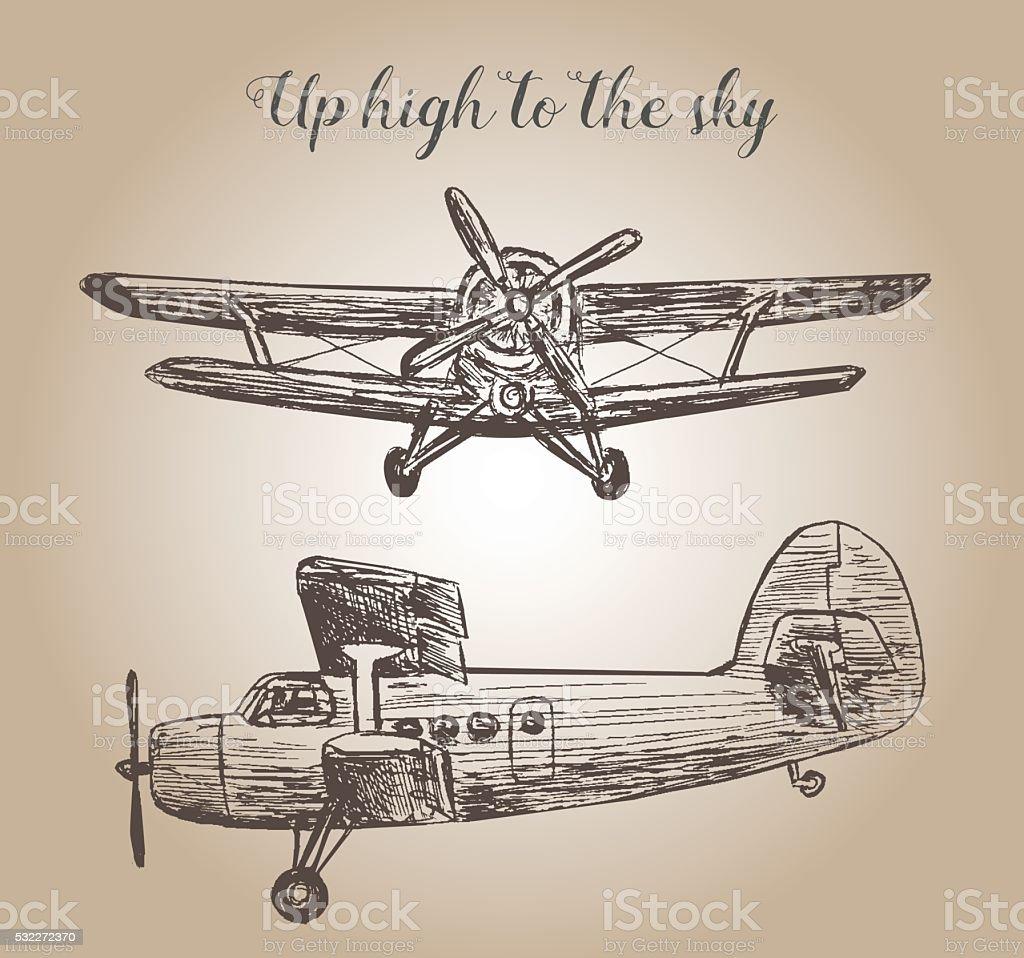 Retro plane illustration vector art illustration