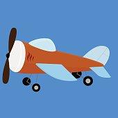 Retro plane toy. Vector illustration