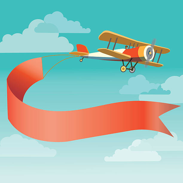 retro plane with banner vector art illustration