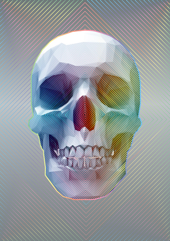 Retro polygonal skull with rainbow effect illustration