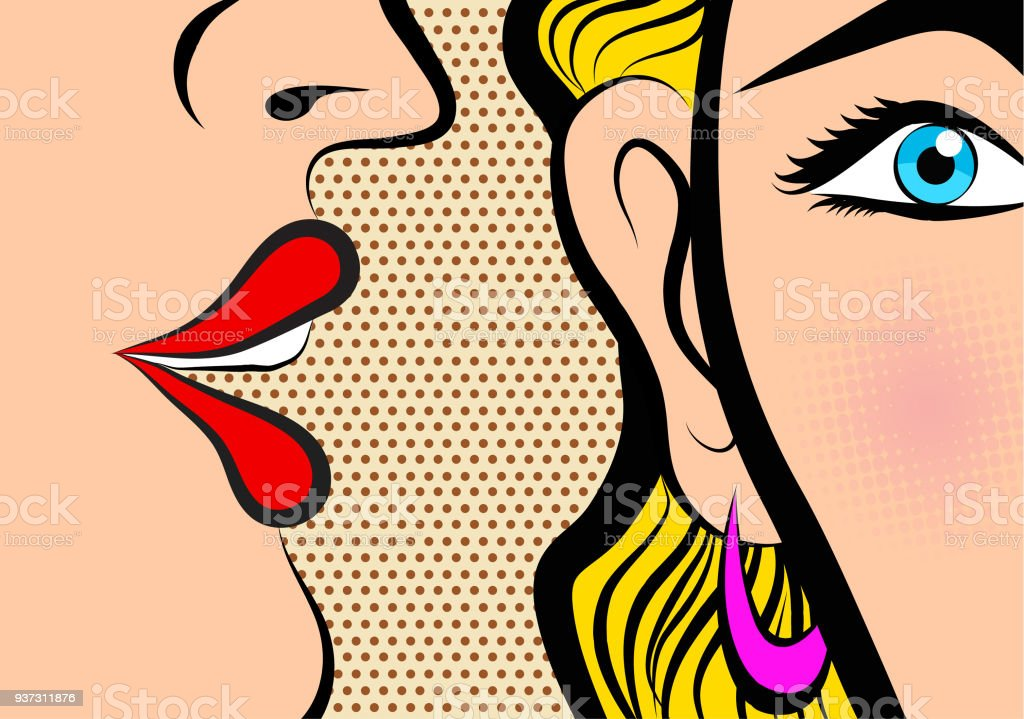 Retro Pop Art style Comic Style Book panel gossip girl whispering in ear secrets with pink cheek royalty-free retro pop art style comic style book panel gossip girl whispering in ear secrets with pink cheek stock illustration - download image now
