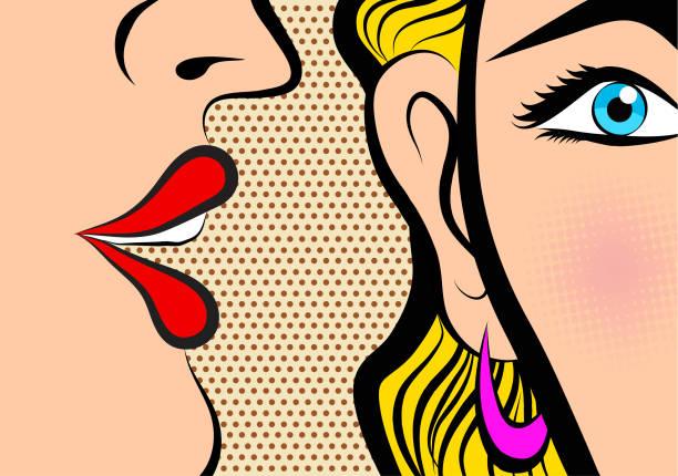 stockillustraties, clipart, cartoons en iconen met retro pop-art stijl stijl stripboek deelvenster celebrities fluisteren in oor geheimen met roze wang - fluisteren