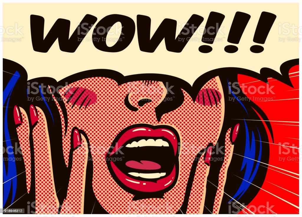 Retro pop art surprised and excited comic book woman with speech bubble saying wow vector illustration vector art illustration