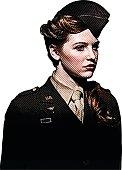 Retro engraving of a World War 2 Army Nurse. She is a Captain.