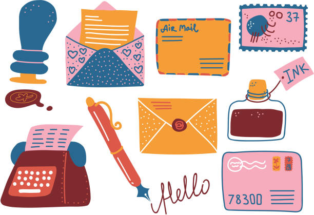 ilustrações de stock, clip art, desenhos animados e ícones de retro post supplies set, mailbox, letters, postcard, pen, inkwell, typewriter vector illustration - tinteiro