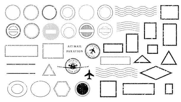 retro anulowanie wysyłki, znaczki wysyłkowe i oznaczenia pocztówek. - pieczęć znaczek stock illustrations