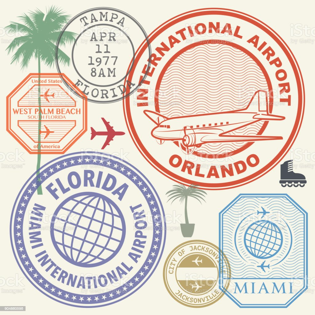 Retro postage USA airport stamps set Florida state vector art illustration