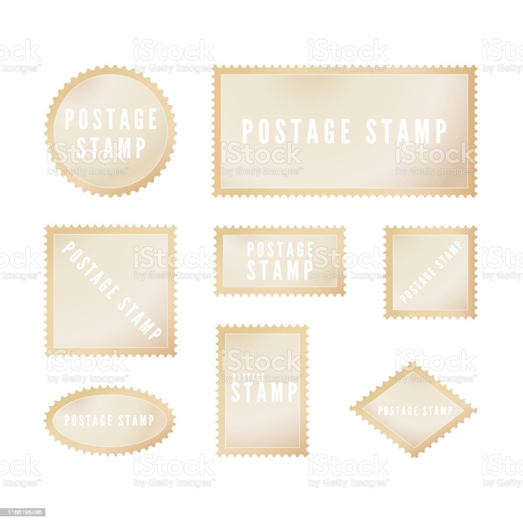 Retro postal stamp template with shadow. Blank postage stamp with...