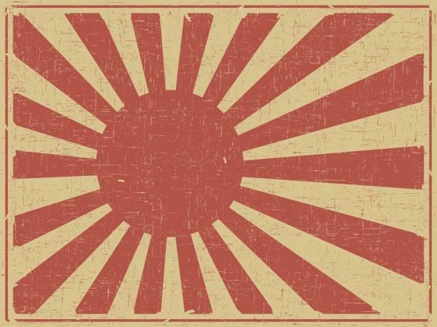 retro-plakat hintergrund - flagge japan stock-grafiken, -clipart, -cartoons und -symbole