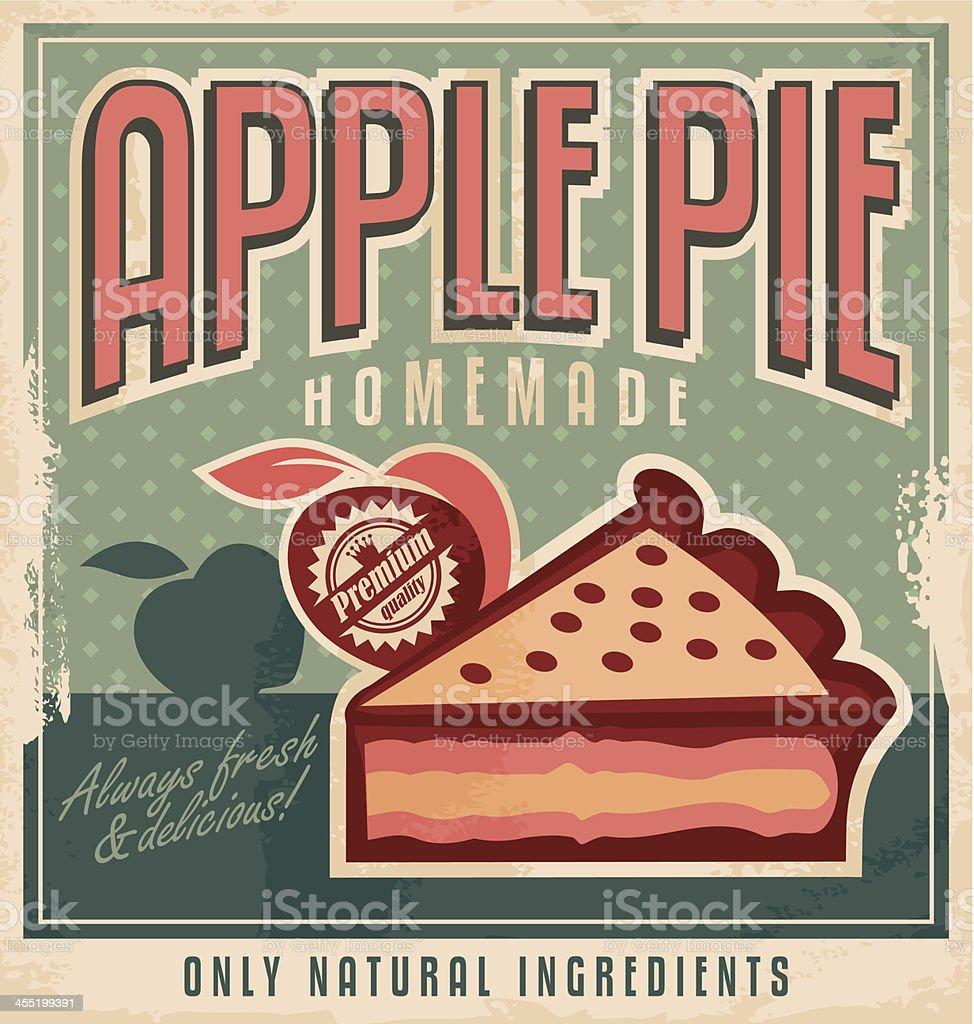 Retro poster design concept for homemade apple pie vector art illustration