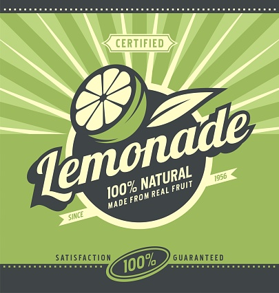 Retro poster design for natural lemonade