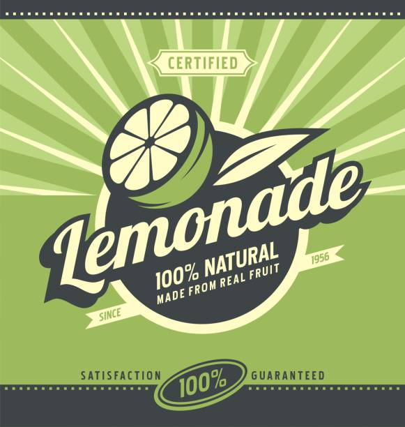 retro poster design for natural lemonade - 1940s style stock illustrations