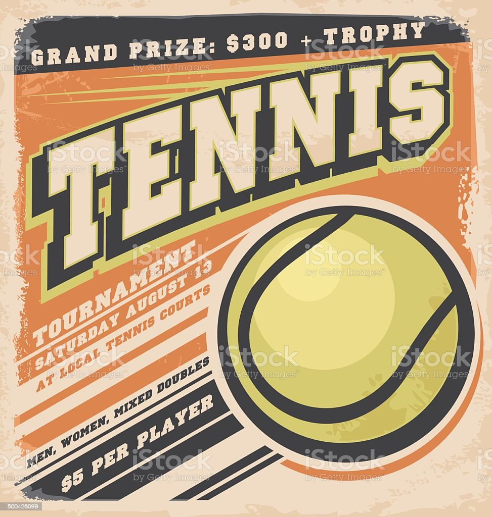 Retro poster design for tennis tournament vector art illustration