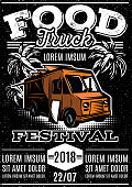 retro poster for invitations on street food festival with food truck on black background