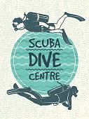 Retro poster for sport club of diving. Vector design template. Sport sea dive badge illustration