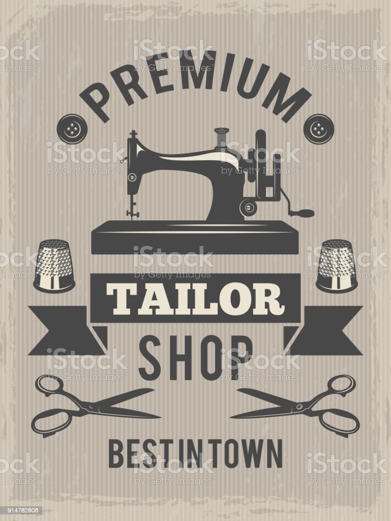 Retro poster for tailor shop. Placard with symbols of textile production vector art illustration