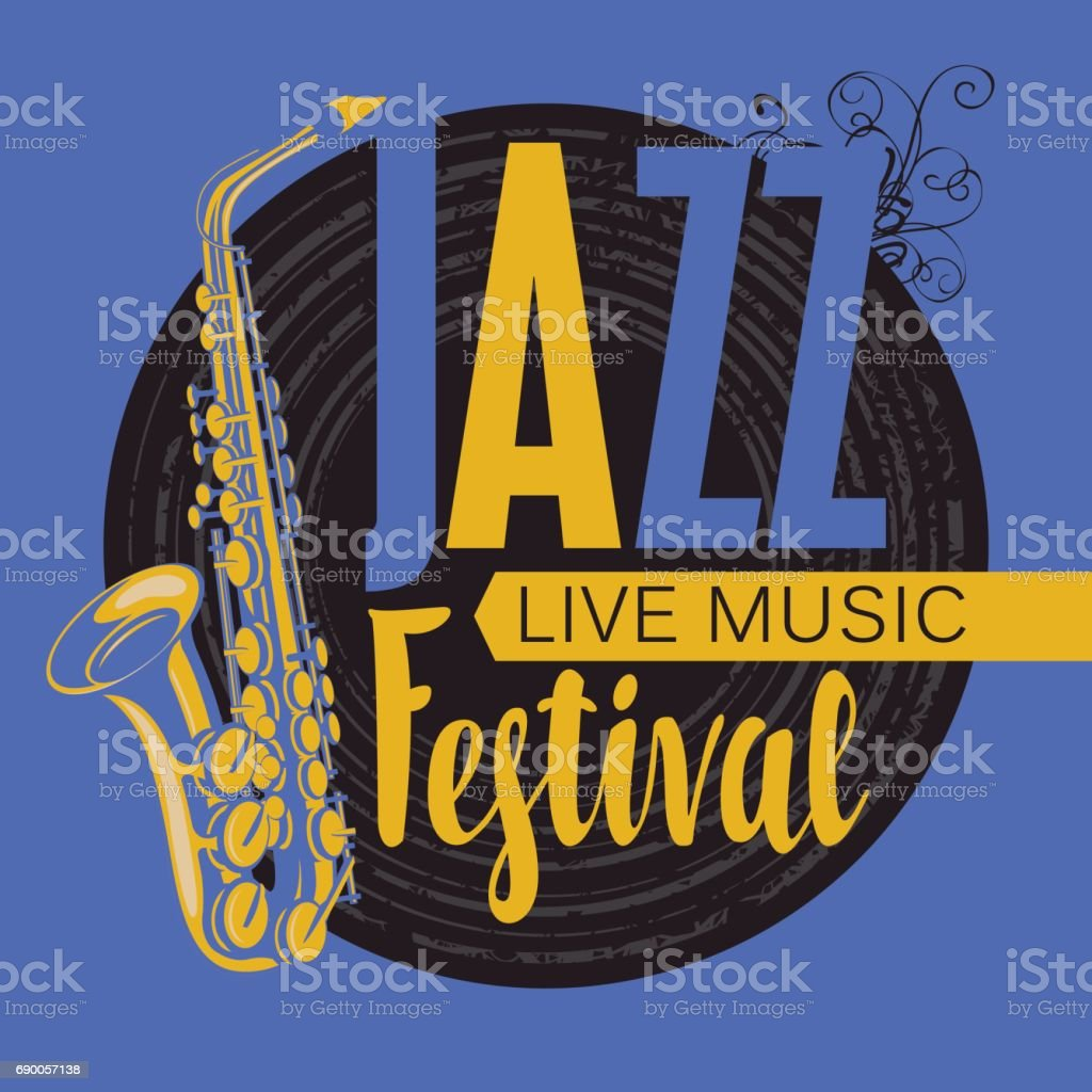 retro poster for the jazz festival with saxophone vector art illustration