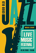 Vector poster for a jazz festival live music with a saxophone in retro style on yellow and green background