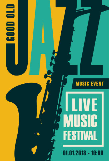 retro poster for the jazz festival with saxophone - jazz stock illustrations