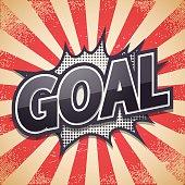 Retro poster. Goal. Vector illustration.