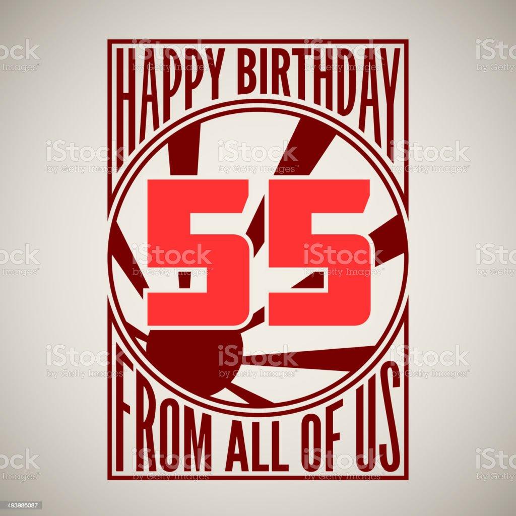 Retro poster. Happy birthday. - Royaltyfri 50-54 år vektorgrafik