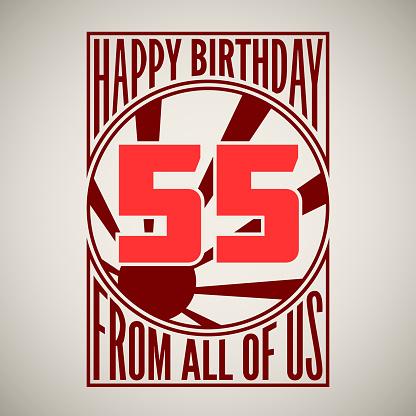 Retro Poster Happy Birthday-vektorgrafik och fler bilder på 50-54 år