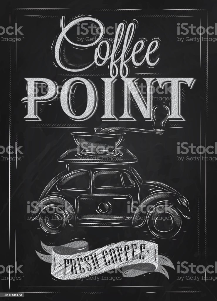 Was Ist Vintage retro poster in vintage style with car drawing chalk stock
