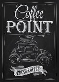 Retro poster in vintage style with drawing toy car and  lettering coffee point, stylized drawing with chalk on blackboard.