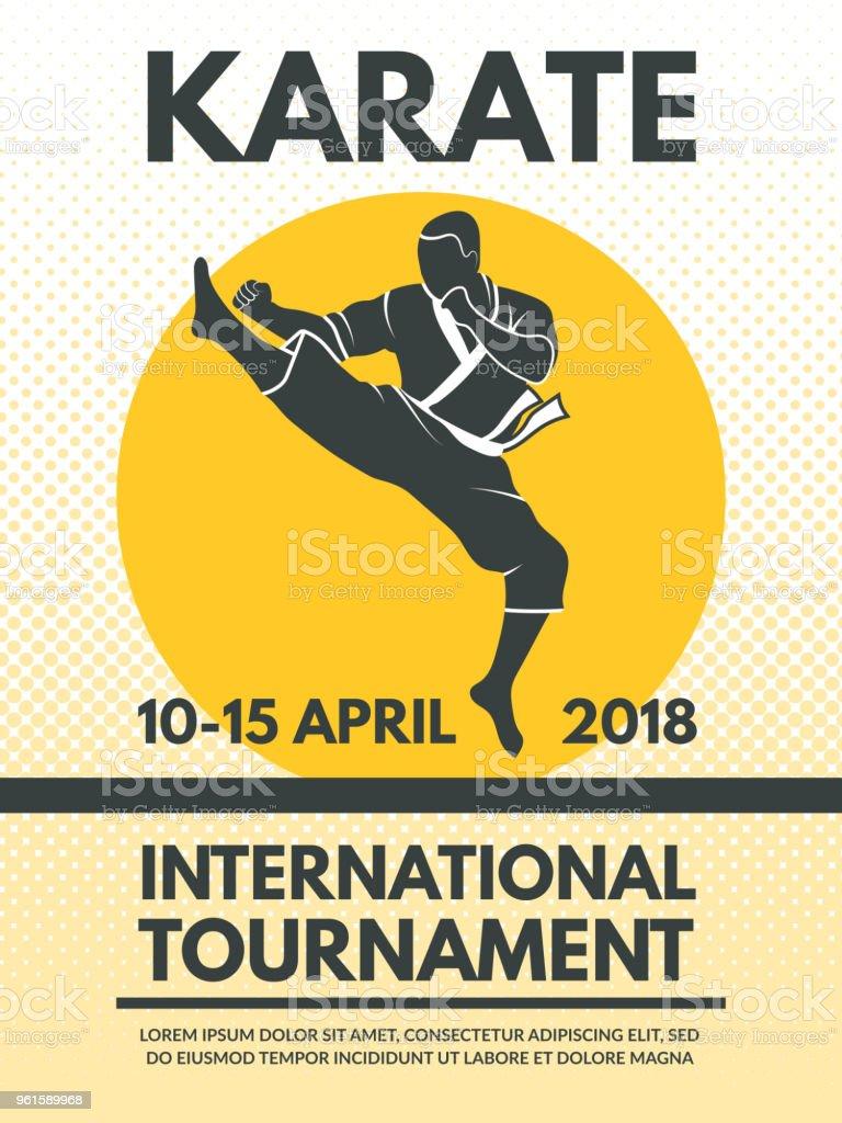 Retro poster invitation at karate fighting championship vector art illustration