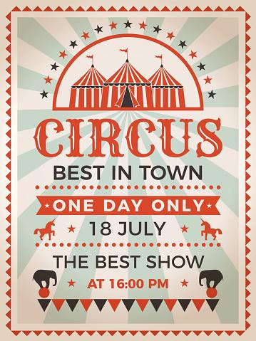 Retro Poster Invitation For Circus Or Carnival Show — стоковая векторная графика и другие изображения на тему Абстрактный