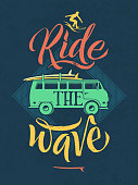 Retro poster of surfer on the waves in hawaii. Sport emblem with hand writing words. Vector illustration. Car van bus wuth surfboard