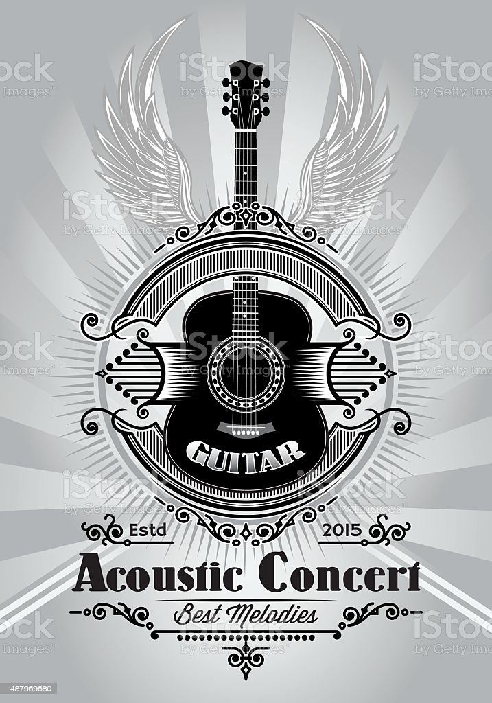 retro poster with a guitar for the concert billboard vector art illustration