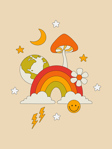 Retro poster with a rainbow, mushrooms, stars, moon, planet in the hippie style. Colorful wall decor in the style of the 70s. Vector illustration