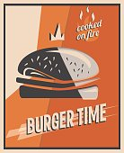 Retro poster with burger with beef meat. restaurant concept and design. Vintage style background. vector illustration.