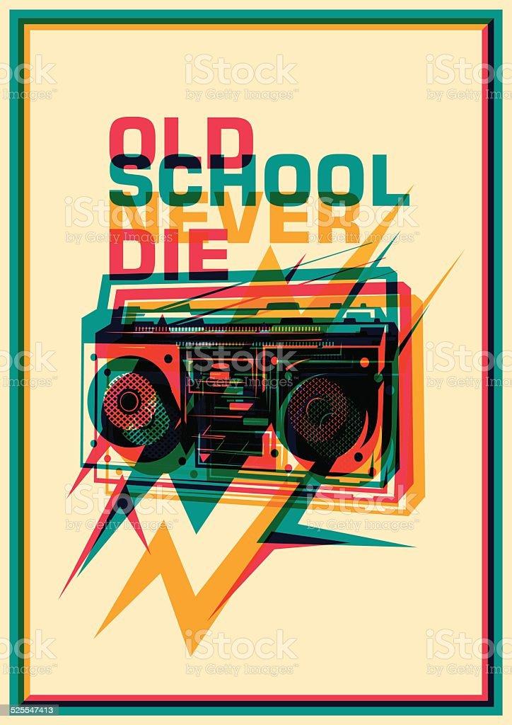 Retro poster with ghetto blaster. vector art illustration