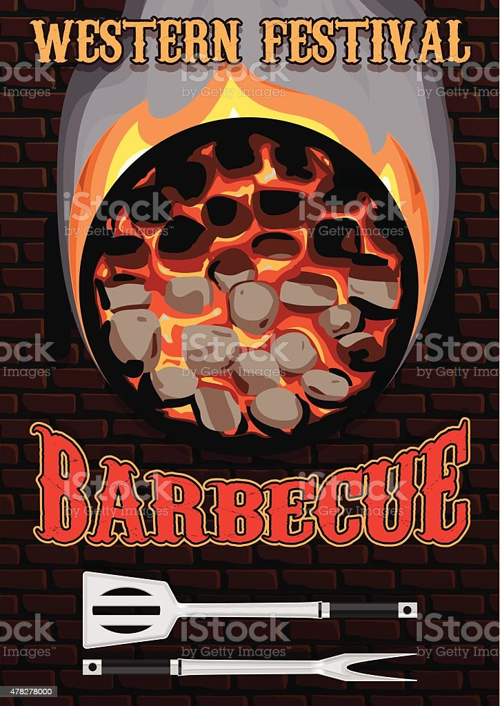 retro poster with hot coals for barbecue vector art illustration