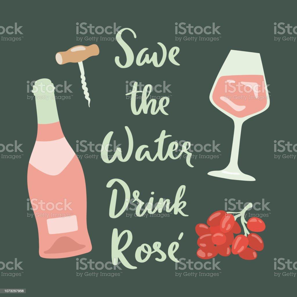 Ilustración De Cartel Retro Rose Vino Copa De Vino Uva Y