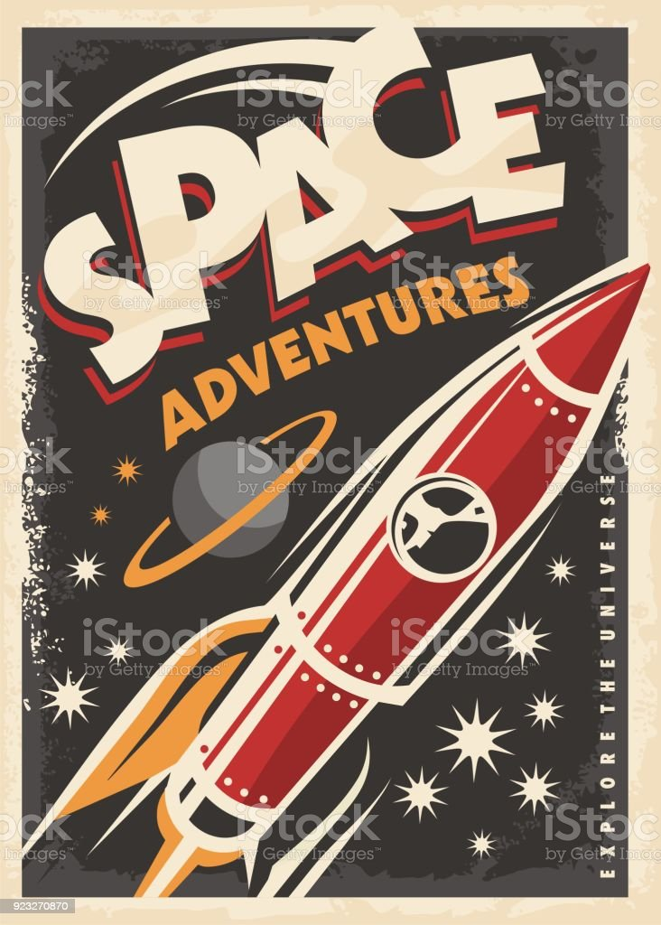 Retro-Poster mit Raum-Schiff-Rakete – Vektorgrafik