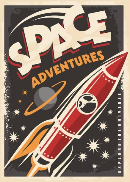 stockillustraties, clipart, cartoons en iconen met retro poster met ruimteschip raket - ruimte exploratie