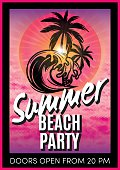 retro poster with advertising the summer beach party