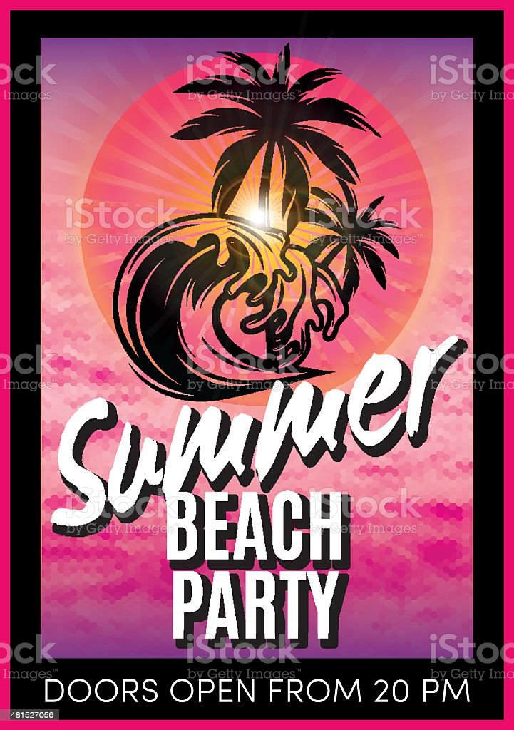 retro poster with summer beach party vector art illustration