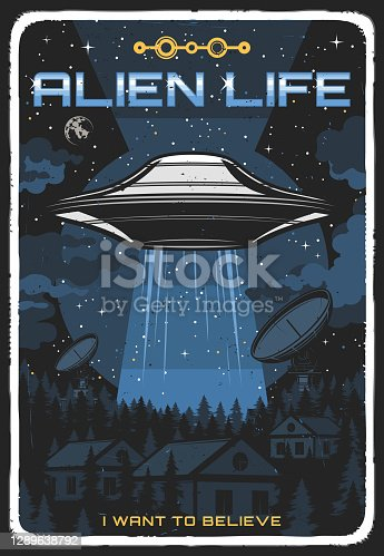 istock Retro poster with ufo illuminate houses at night 1289638792