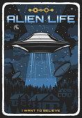 istock Retro poster with ufo illuminate houses at night 1289638792