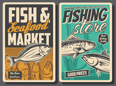 Retro posters, fish store and seafood market