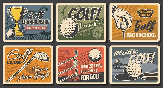 Retro posters, golf club league championship