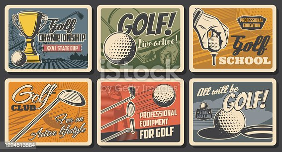Golf championship cup and golfer sport school, vector vintage retro vector posters. Professional golf club tournament and equipment shop, ball and stick on green course