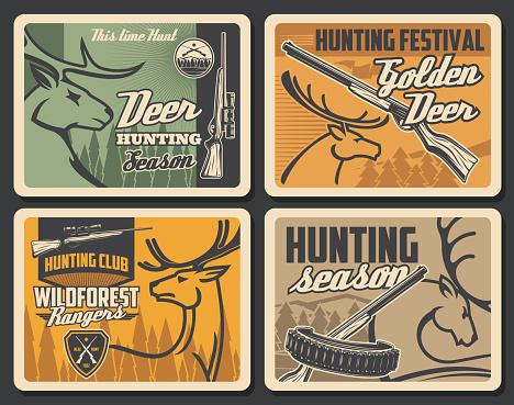 Hunter club and wild animals hunt season, vector vintage retro posters. Forest golden deer and elk antlers hunting festival, hunter equipment ammo rifle gun and bullet belt cartridge bandoleer